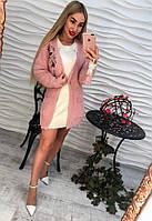 Женский пушистый  кардиган  с вышивкой