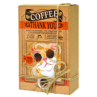 Кофейный набор Thank you Спасибо 50 грамм кофе в подарочной  упаковке + 5 плиточек молочного шоколада