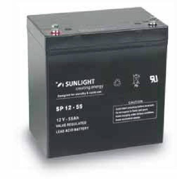 AGM аккумулятор 12 Вольт 55 Ач, Sunlight SP 12-55