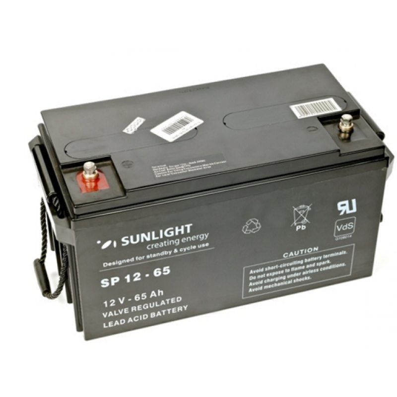Аккумулятор 12 Вольт 65 Ач, Sunlight SP 12-65