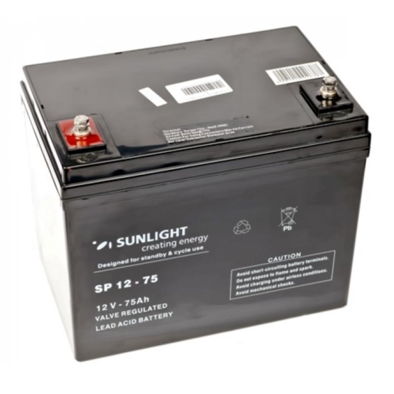 Аккумулятор 12 Вольт 75 Ач, Sunlight SP 12-75