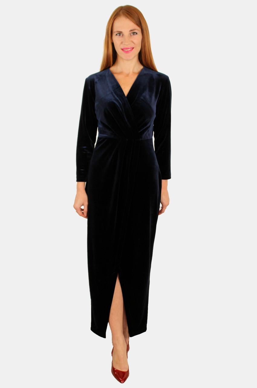 Элегантное женское платье на запах из бархата 44 р