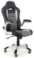Кресло офисное кожаное ЕКО 24604 черно-серое
