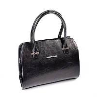 Женская каркасная сумка М50-63 черная глянцевая деловая