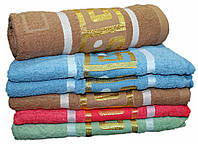 Банное махровое полотенце с золотой вышивкой  №Б96