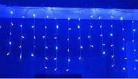 Гирлянда - сталактиты, бахрома, рваная штора 120Led 3х0,6м, прозрачный провод, синий