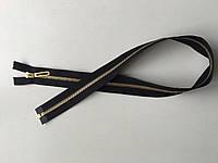 Застежка молния RIRI 6 метал полированная зубья золото 70 см брелок Golf тесьма черная поликотон разъемная