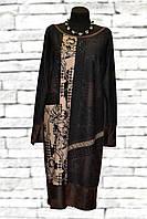 Женское платье-туника с кожаными вставками