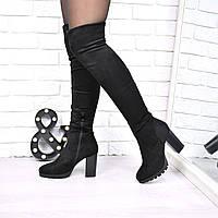 Сапоги женские ботфорты Veronika черные ЗИМА 3834, зимняя обувь