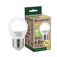 Лампа Цоколь Светодиодная ENERLIGHT G45 / 6 Вт / 3000 К / 220 В / E27