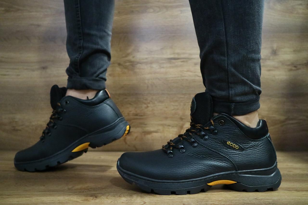 Мужские зимние ботинки Ecco (черные), ТОП-реплика