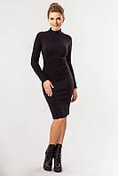 Однотонное женское теплое черное облегающее платье миди с воротником под горло