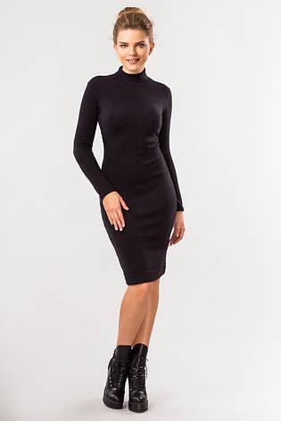 a64ca4ff2b5 Однотонное женское теплое черное облегающее платье миди с воротником под  горло