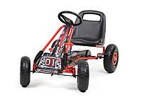Детский веломобиль Gokart черный, пневматические колеса