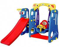 Детская игровая площадка,горка,качеля,бакетбол 4in1