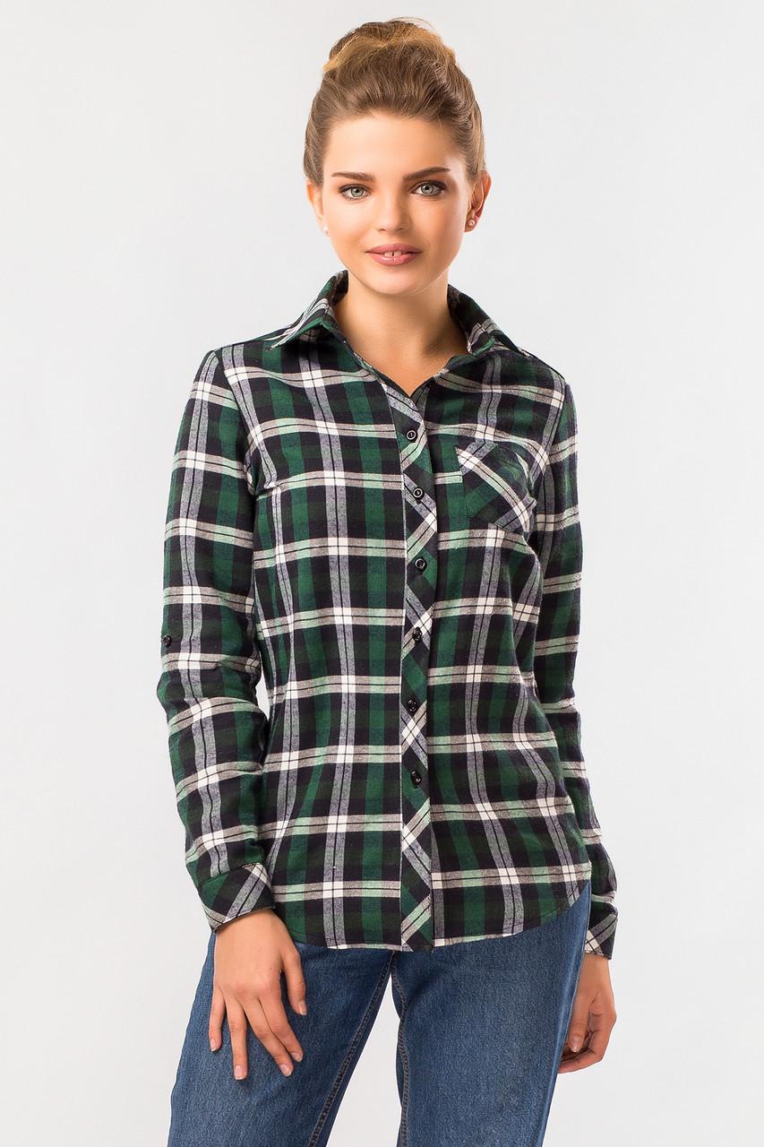 407419ede75 Стильная теплая женская зеленая рубашка в клетку с длинным рукавом -