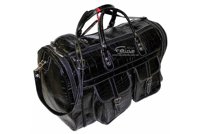 Дорожная сумка кожаная черная Eminsa компактная  и удобная внутренняя организация
