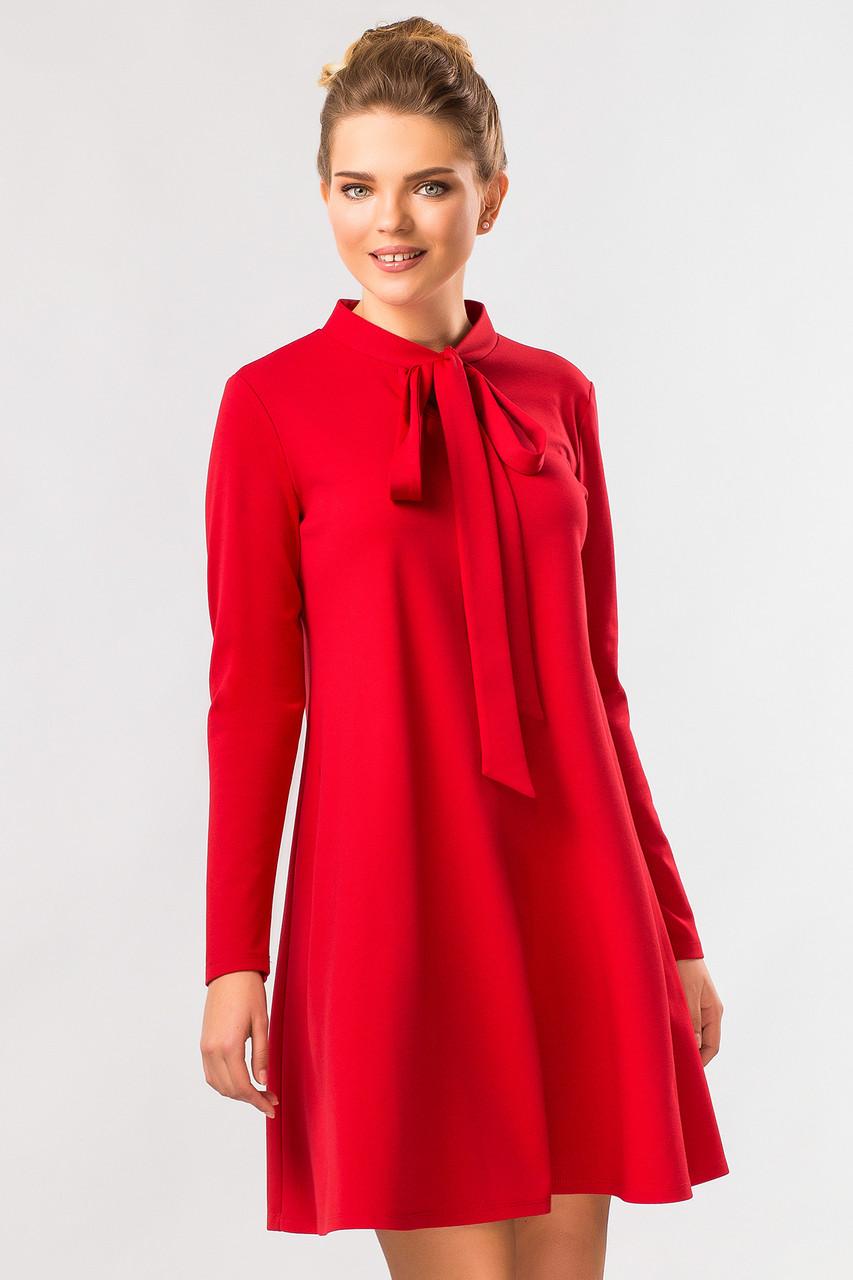 89cc0999c70 Красивое женское красное нарядное платье-трапеция с завязками-бантом на шее  и длинным рукавом