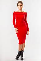 Красное вечернее женское облегающее миди платье в рубчик с открытыми плечами, платье-хомут