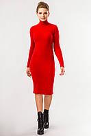 Универсальное красное женское платье-гольф в рубчик, миди