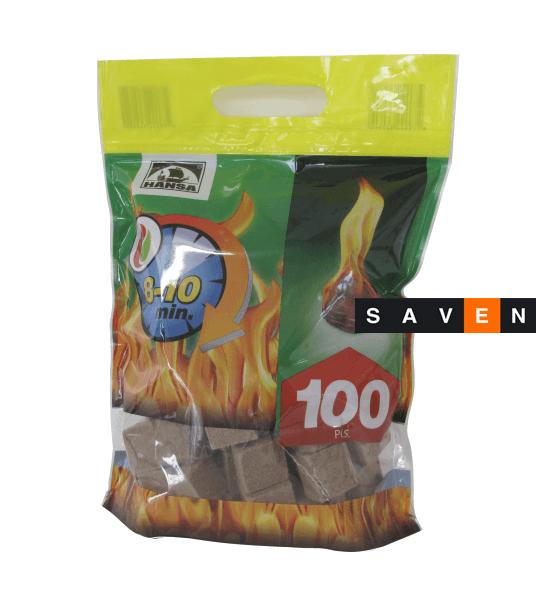 Разжигатель огня HANSA в кубиках 100 шт.