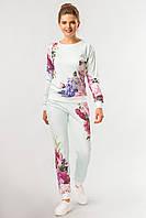 Стильный мятный женский костюм с цветочным принтом штаны и свитшот