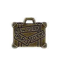"""Подвеска Портфель, Чемодан Цинковый сплав, Античная бронза, С Надписью """" NEW YORK PARIS TOKYO """", 16 мм x 14 мм"""