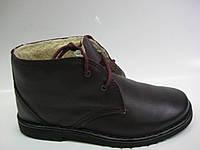 Кожаные женские зимние ботинки сливового цвета на шнурках ТМ Inblu, фото 1