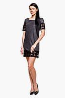 Женское теплое трикотажное платье в горошек с кружевом Poliit № 8445