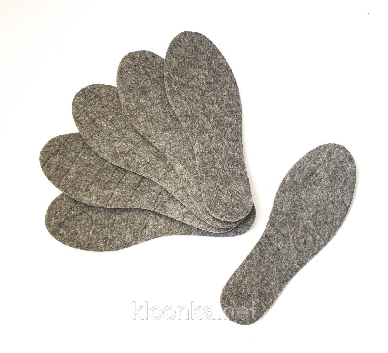 Стельки фетровые теплые унисекс, размер 37-45