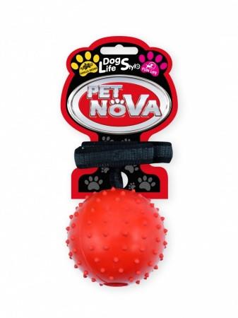 Игрушка для собак Мяч с ремешком Pet Nova 7 см красный