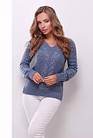Женская вязаная кофта с v-образным вырезом цвет светлый джинс