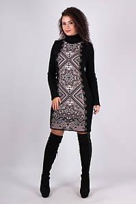 Вязаное черное платье Ольга орнамент черный - капучино