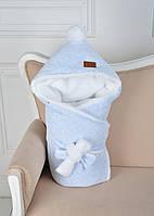 Велюровый конверт-одеяло, на махре, голубой меланж