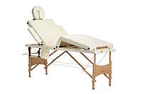 Массажный стол BODYFIT 4 секционный деревянный, бежевый