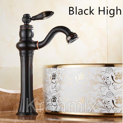 Смеситель для раковины высокий Aquaroom черный кран для умывальника в ванную в душ