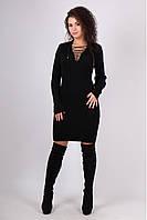 Черное вязаные платье миди с шнуровкой на декольте Риана