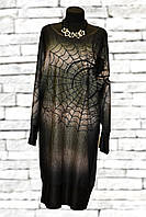 Платье-туника с кожаными вставками