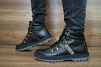 Мужские зимние ботинки PAV (черные), ТОП-реплика, фото 1