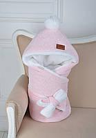 Велюровый конверт-одеяло, на махре, розовый меланж