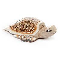 Деревянная статуэтка черепаха малая светлая Мотильда