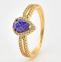 Кольцо 15202 размер 19, фиолетовый камень, покрытие 18К