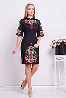 Красивое черное вечернее платье-футляр с цветами Китайский пион Августина к/р