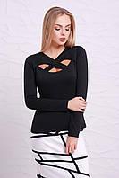 Женская нарядная черная кофта с длинным рукавом и разрезами на декольте Кристина д/р