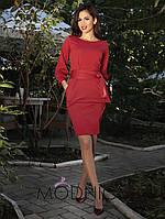 Однотонное женское платье с карманами. Пояс в комплекте.