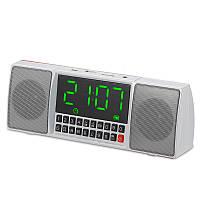 Портативная Bluetooth стерео колонка с LED часами и будильником WS-1515BT