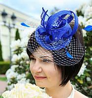Синяя шляпка из синамея с вуалью