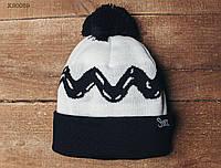 Теплая зимняя шапка с помпоном Staff