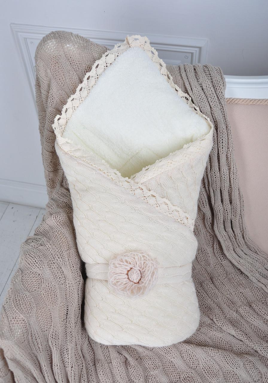 Вязаный конверт одеяло на выписку для новорожденного ...