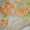 Купить тюль с оранжевыми цветами гортензии